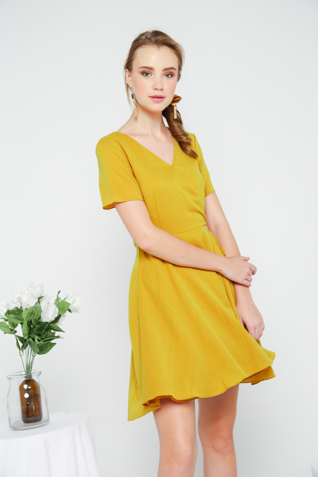 Cheryl Basic Faux Wrap Dress in Mustard (M)