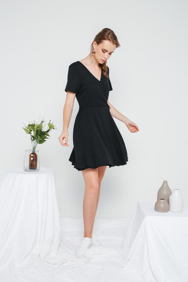 Cheryl Basic Faux Wrap Dress in Black