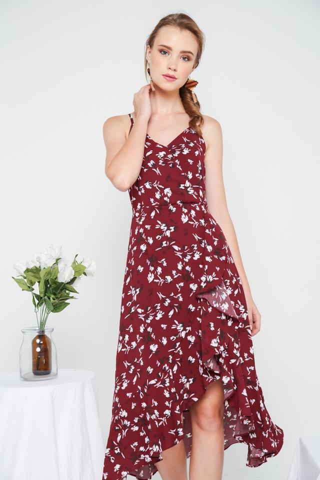Chloris Floral Asymmetrical Ruffles Dress in Wine Red