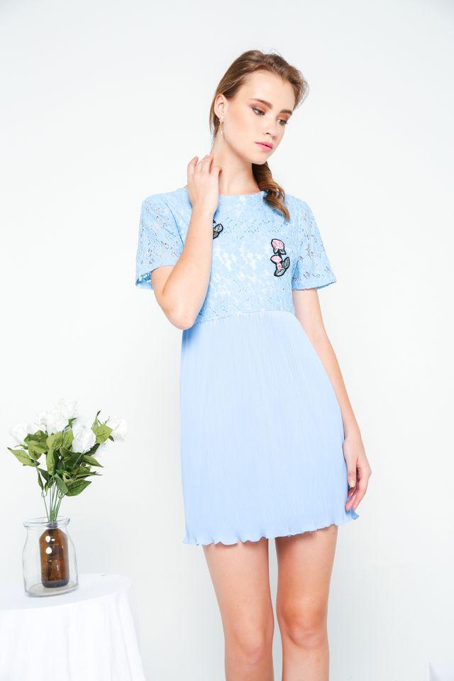 Evian Crochet Pleats Dress in Sky Blue