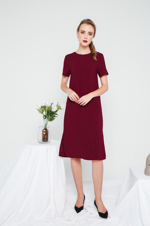 Morgana Midi Shift Dress in Burgundy