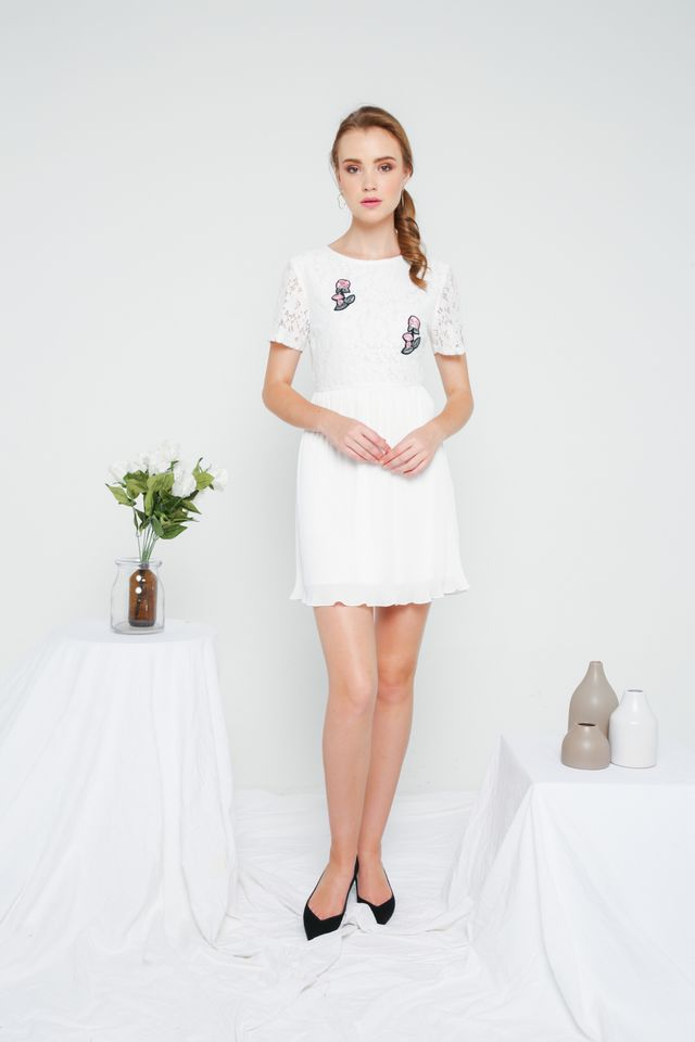 Evian Crochet Pleats Dress in White