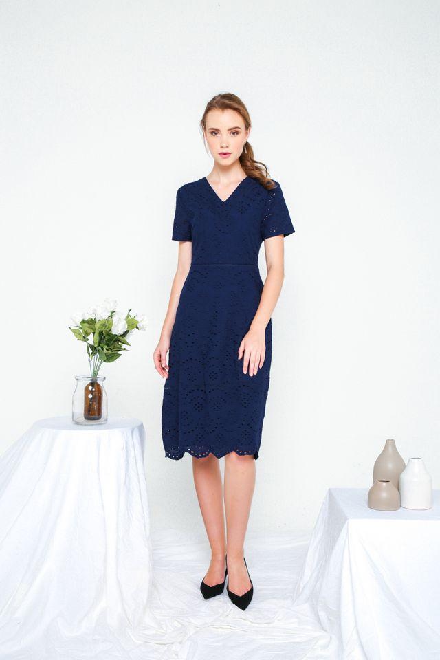 Dorothy Eyelet Midi Dress in Navy (XS)