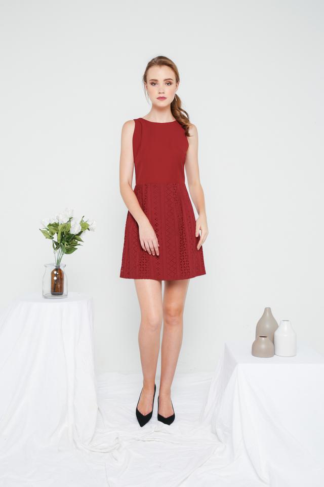 Jenny Eyelet Mini Dress in Maroon