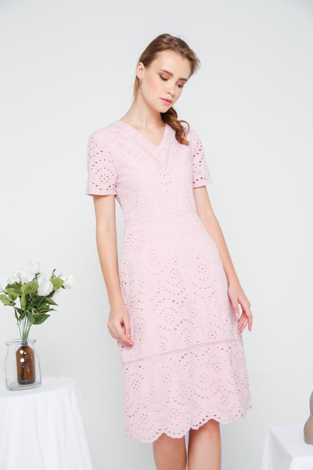 Dorothy Eyelet Midi Dress in Dusty Pink