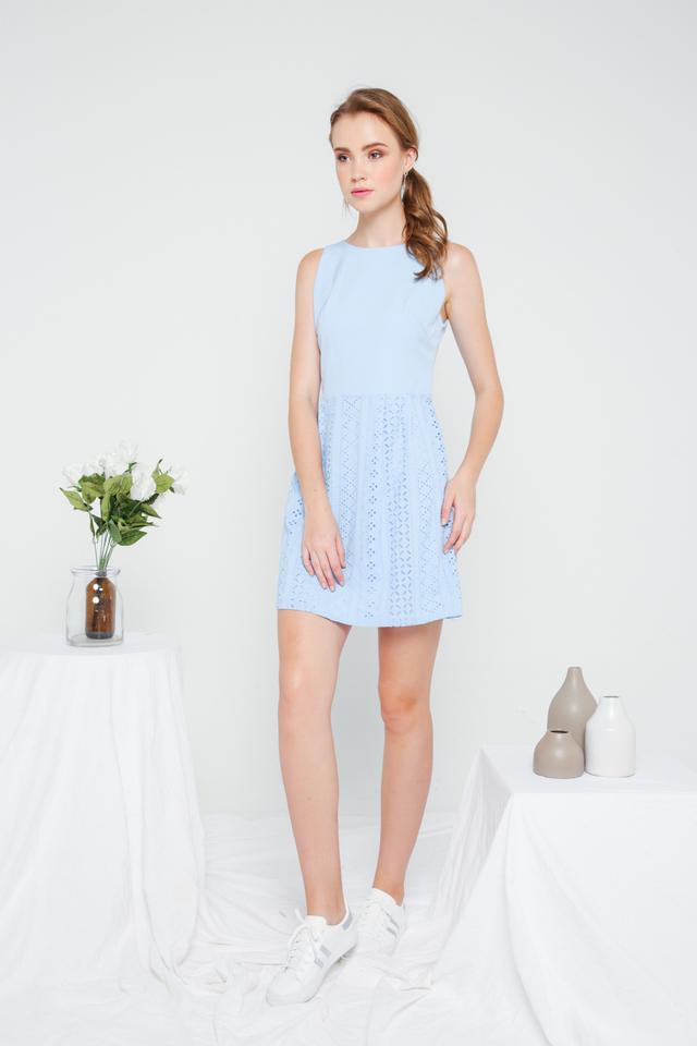 Jenny Eyelet Mini Dress in Sky Blue (L)