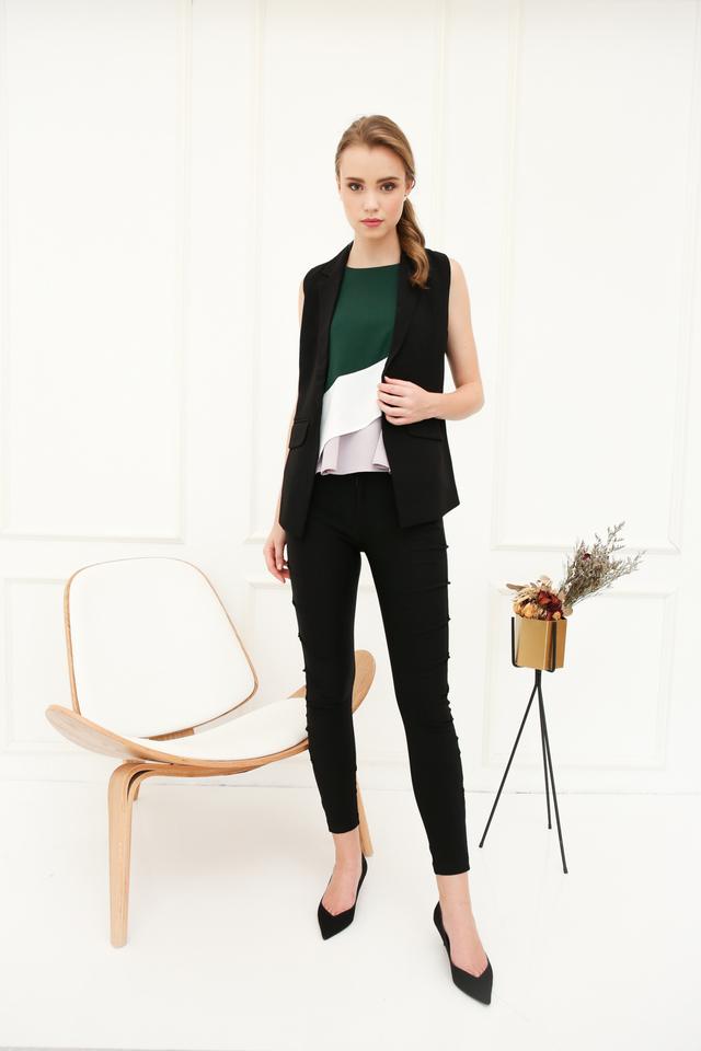 Inerys Colourblock Flare Top in Emerald