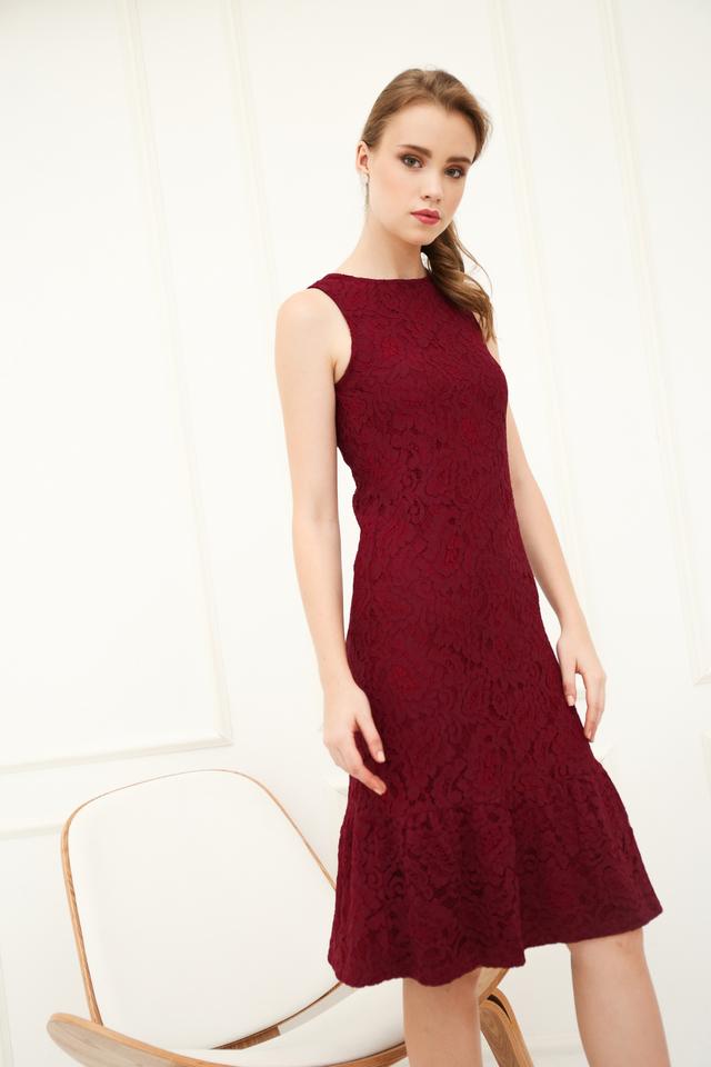 Versa Lace Dropwaist Midi Dress in Burgundy