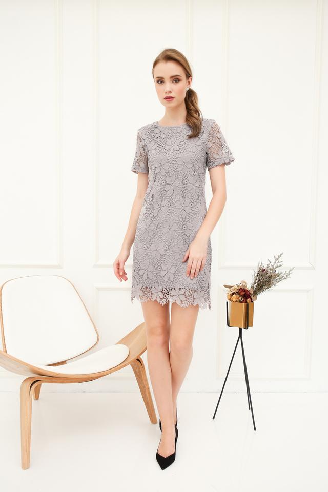 Florin Crochet Shift Dress in Grey
