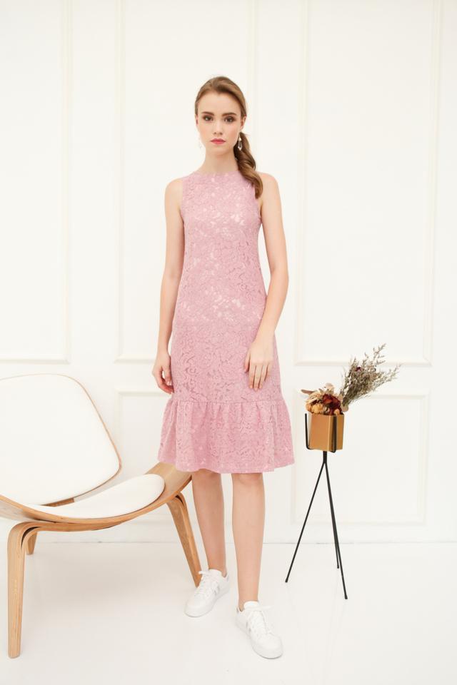 Versa Lace Dropwaist Midi Dress in Pink