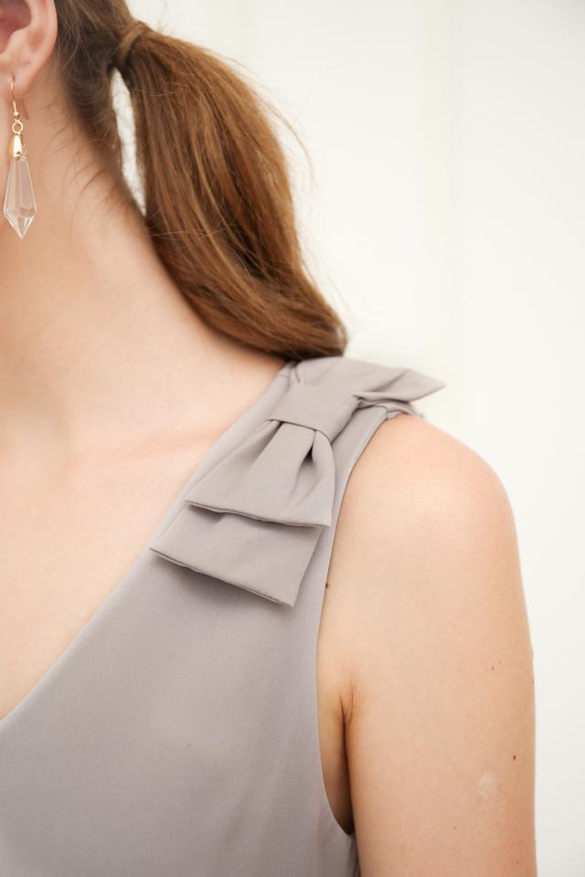 Coralia Ribbon Midi Dress in Grey