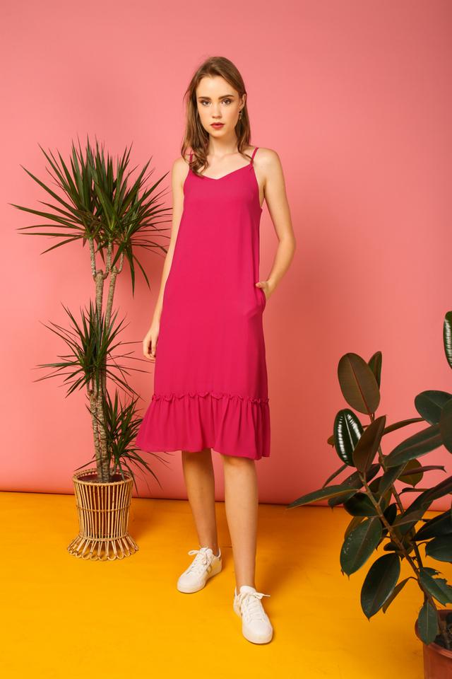 Holly Basic Dropwaist Midi Dress in Fuschia