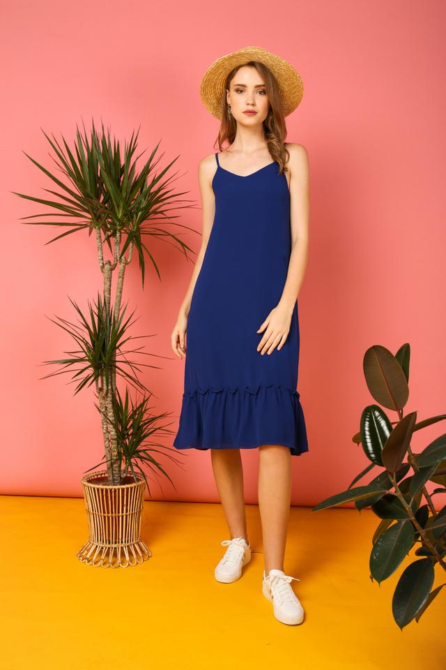 Holly Basic Dropwaist Midi Dress in Cobalt Blue