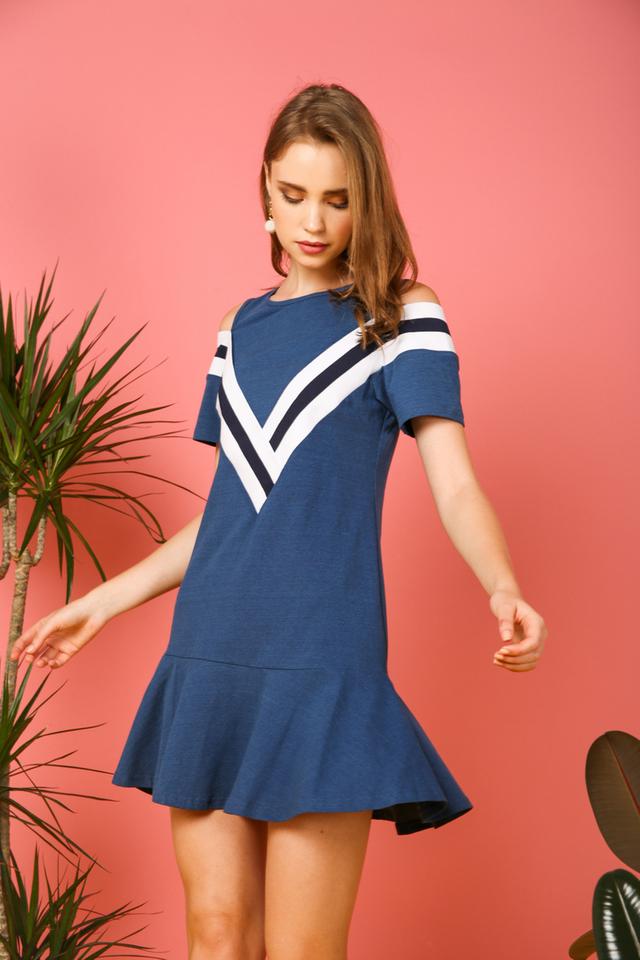 Talaria Striped Cold Shoulder Dress in Sapphire Blue