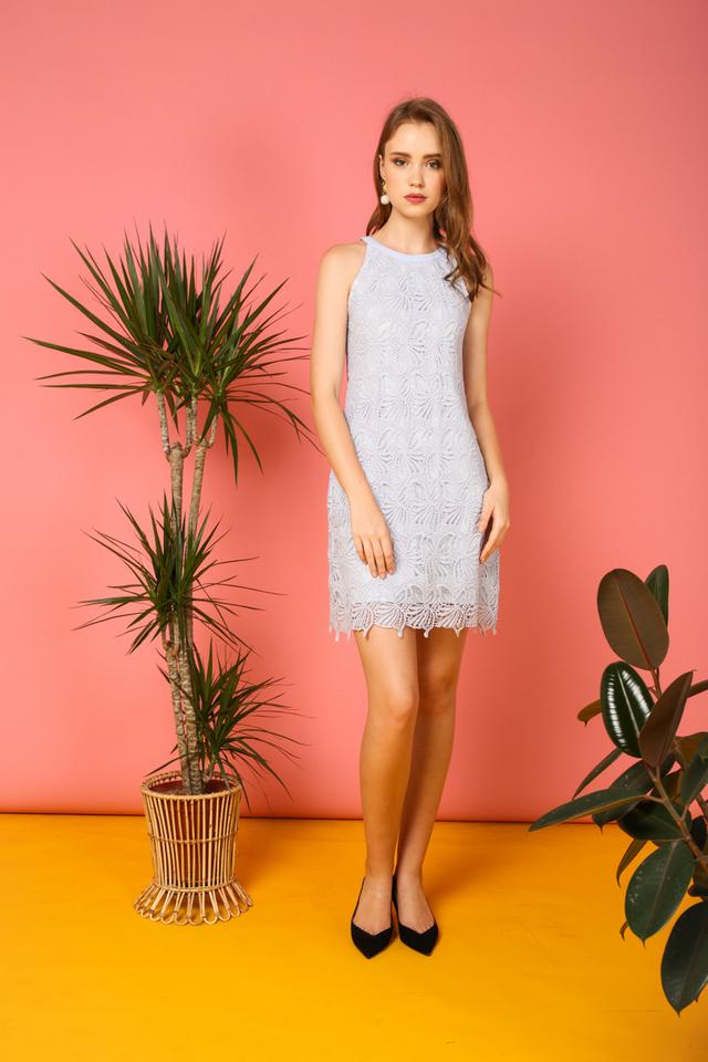 Arwen Crochet Halter Dress in Light Blue