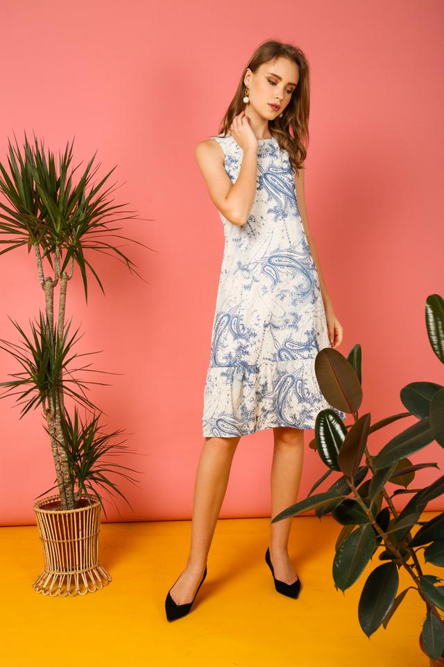 Sage Printed Midi Ruffles Dress in Blue Paisley (XS)