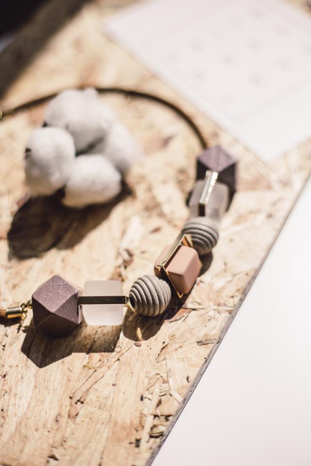 Danae Geometric Necklace in Purple