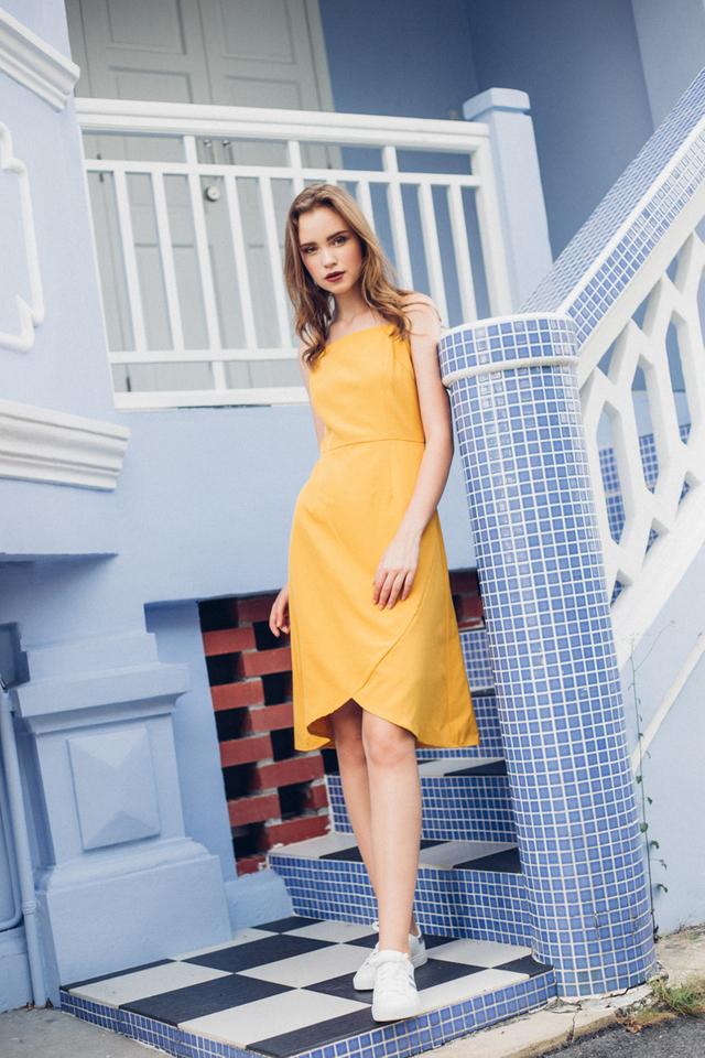 Brynn Asymmetrical Sheath Dress in Mustard