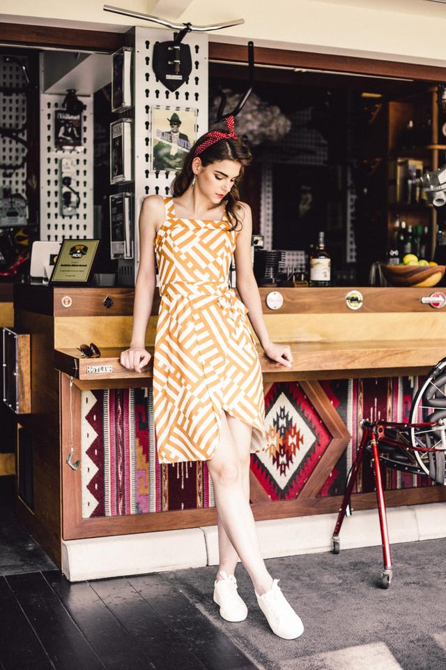 Armelle Striped Asymmetrical Dress in Caramel