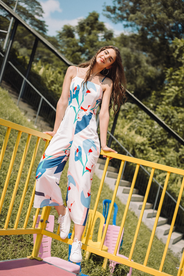 Milla Abstract Jumpsuit in White