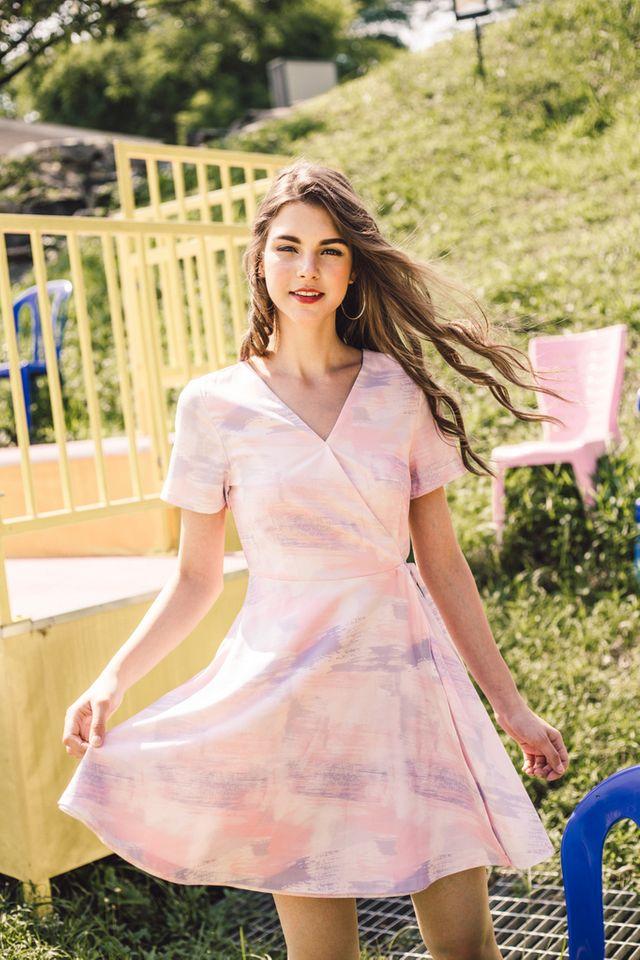 Lilah Paintbrush Faux Wrap Dress in Pastel Pink