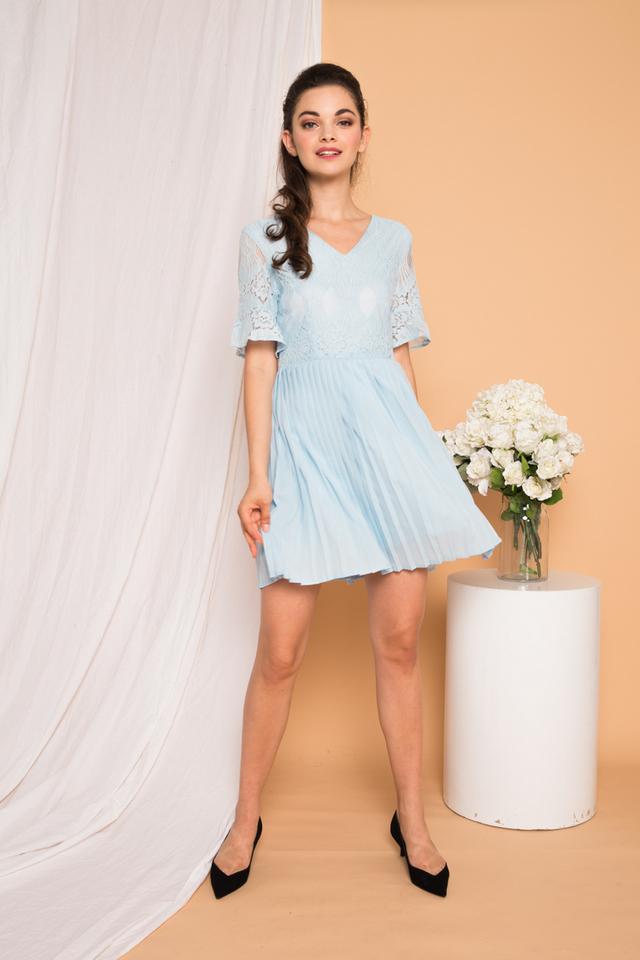 Zann Lace Pleated Dress in Light Blue