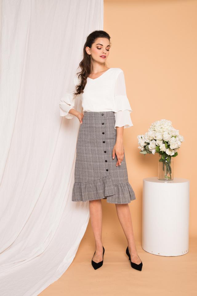 Wylla Plaid Sheath Skirt in Grey