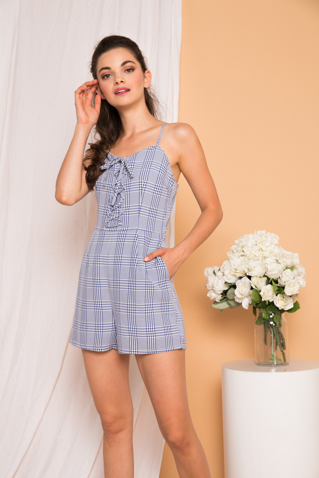 Eilee Gingham Lace-up Romper in Blue