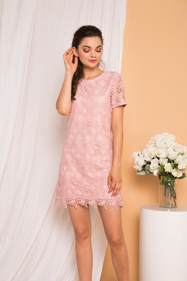 Rowen Floral Crochet Shift Dress in Pink