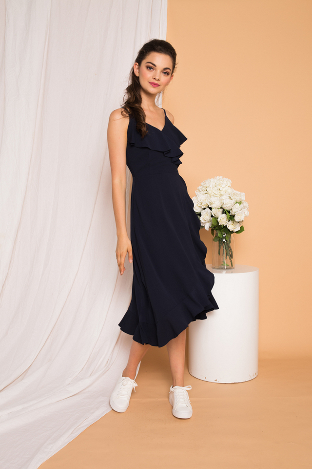 Kezlyn Ruffles Maxi Dress in Navy