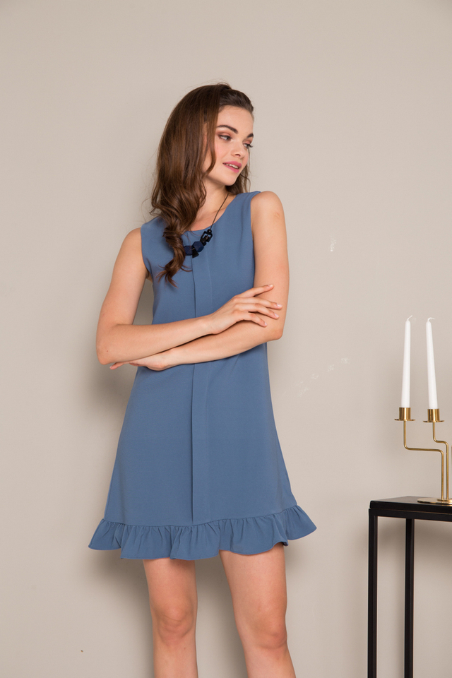 Everleigh Folded Ruffles Dress in Steel Blue