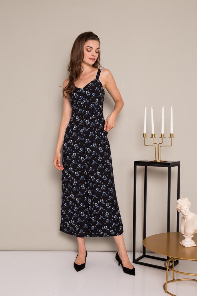 Olivine Floral Jumpsuit in Black