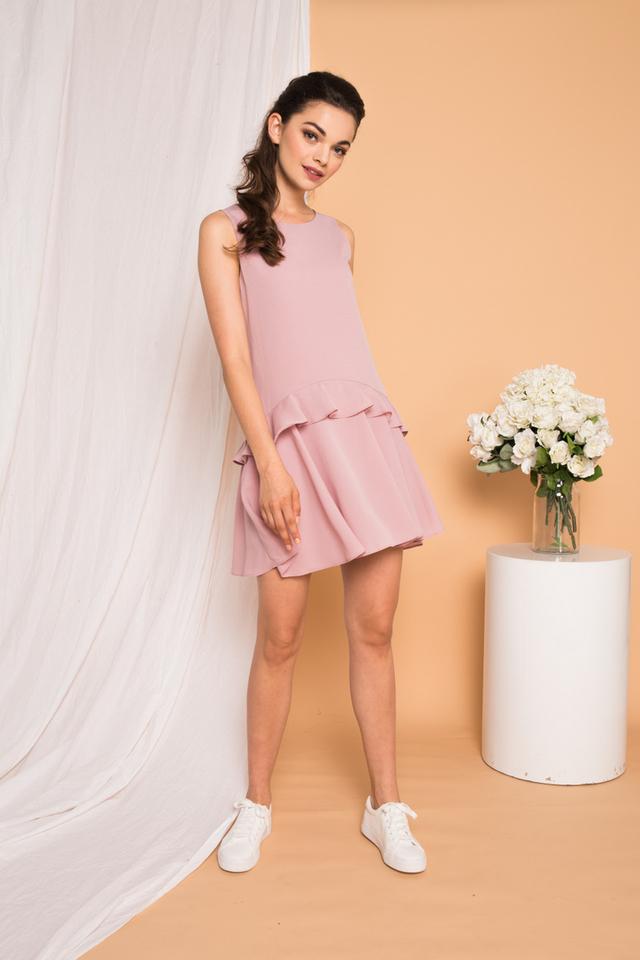 Kamden Asymmetrical Ruffles Dress in Dusty Pink