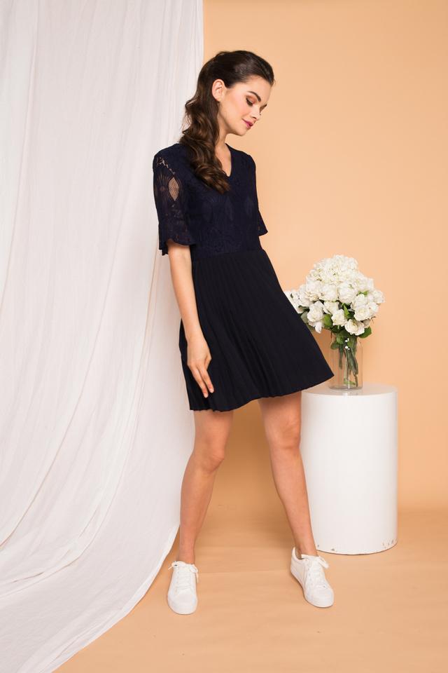 Zann Lace Pleated Dress in Navy
