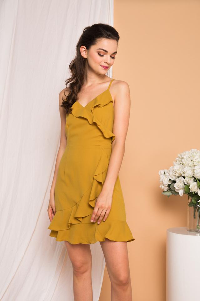 Evie Ruffled Cami Dress in Dusty Mustard