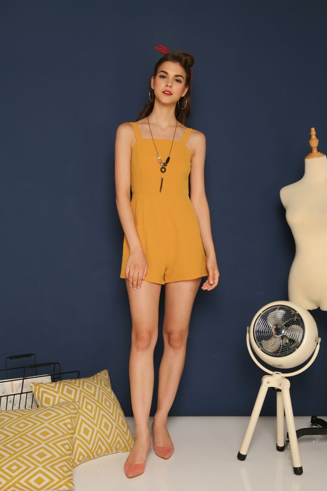 Rae Basic Romper in Mustard (XL)