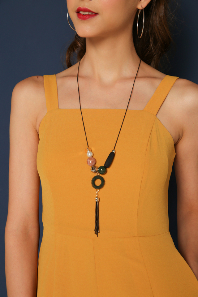 Verity Geometric Necklace in Green