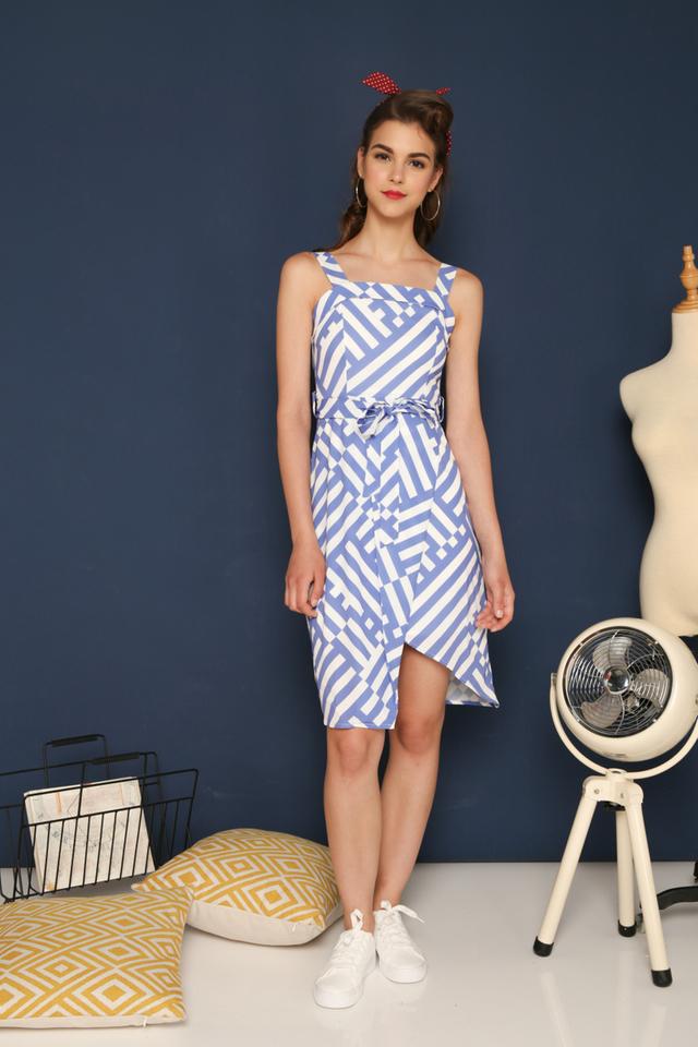 Armelle Striped Asymmetrical Dress in Cornflower Blue (XL)