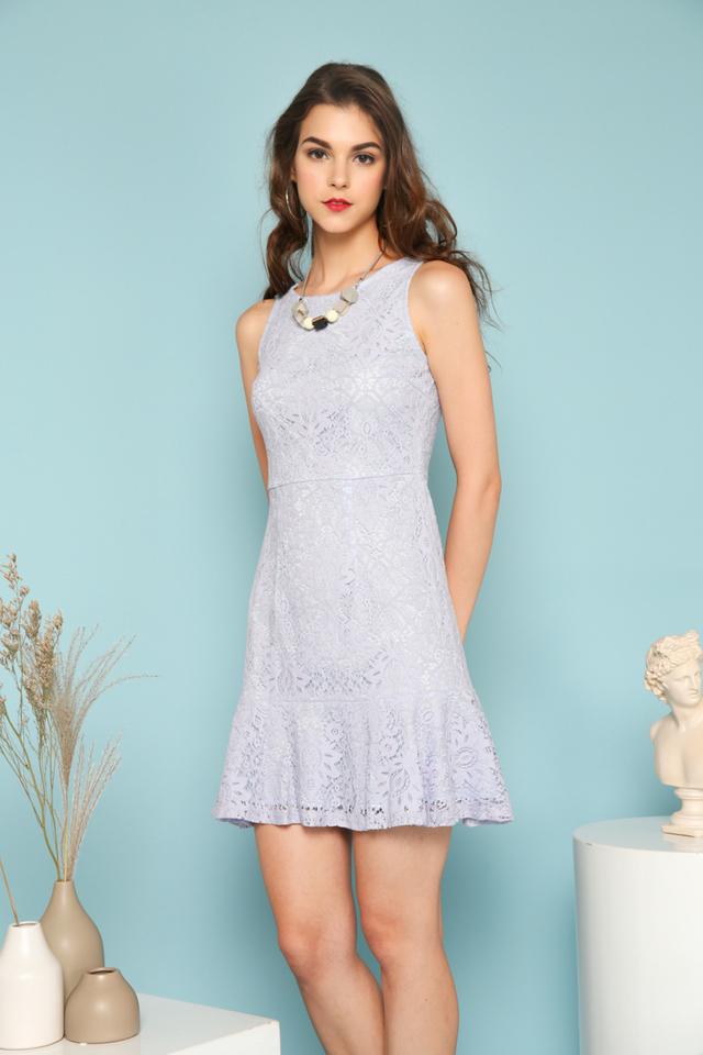 Alora Lace Ruffles Dress in Periwinkle Blue (L)