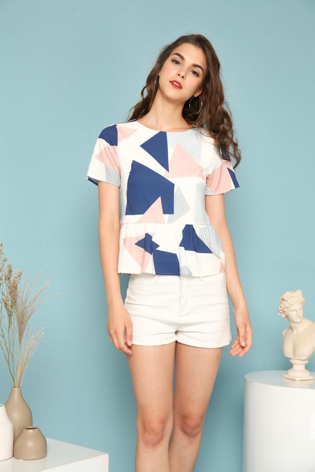 Tess Geometric Ruffles Top in Navy Blue