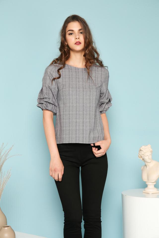 Jaide Plaid Gathered Sleeve Top in Dark Grey (XS)