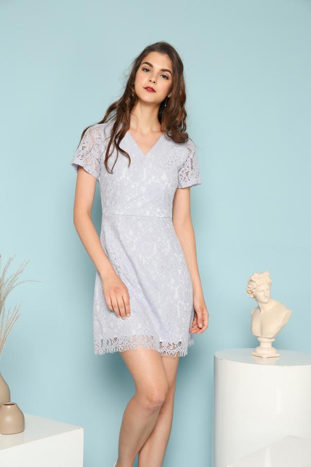 Desiree Faux Wrap Lace Dress in Periwinkle (XS)