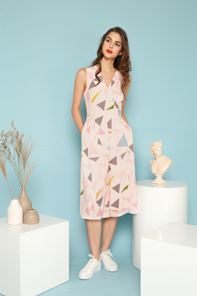 179cc7c4d43 Ellery Geometric Faux Wrap Jumpsuit in Pastel Pink