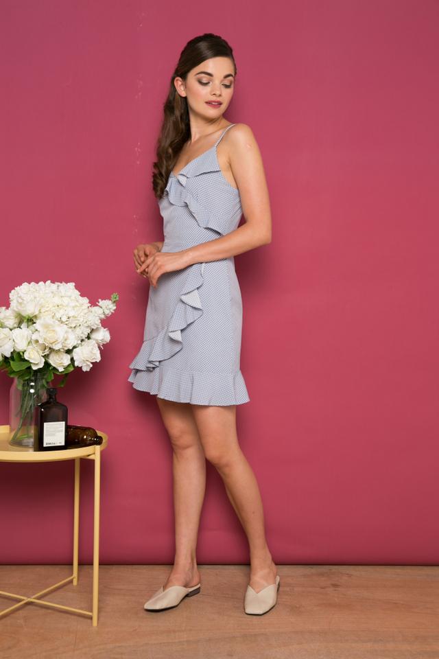 Minette Polka Dot Ruffles Dress in Powder Blue