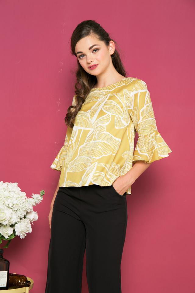 Caiden Foliage Bell Sleeve Top in Dusty Mustard