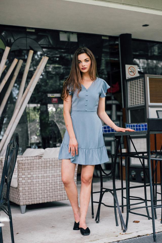 Jocasta Faux Button Ruffles Dress in Stone Blue