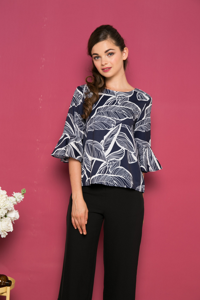Caiden Foliage Bell Sleeve Top in Navy