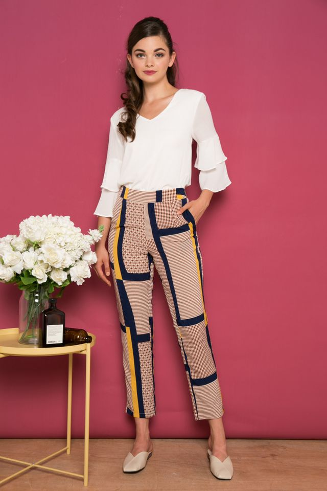 Brody Abstract Straight-cut Pants in Brown (L)