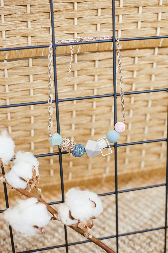 Herne Geometric Necklace in Blue