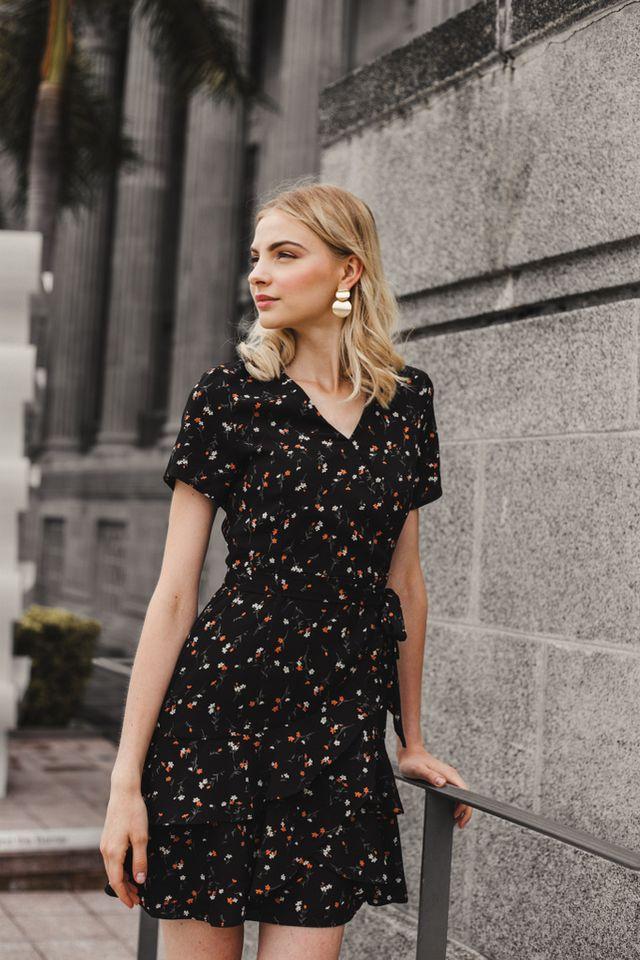 Roux Faux Wrap Floral Dress in Black